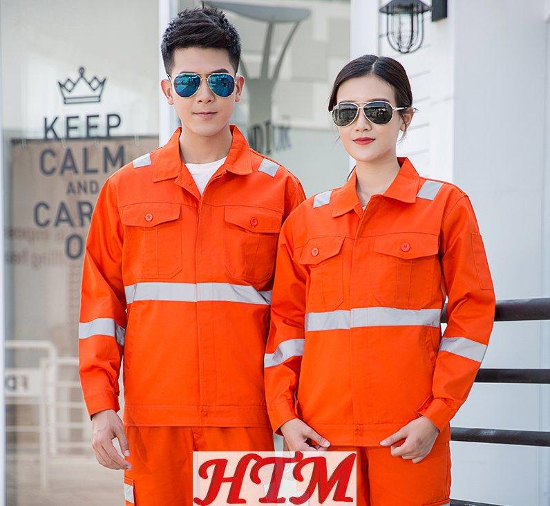 全工艺涤棉厚纱卡系扣灰反光条环卫长袖工装套装C-64-YXS-8025