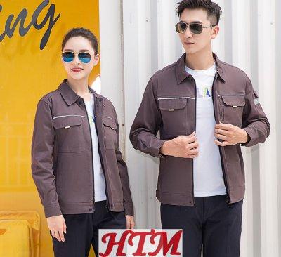 纯棉反光条织带长袖工装上衣HTM-CS65-6902