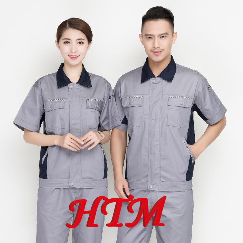 夏季新款短袖套裝男女透氣網工地工人勞保服車間廠服工作服定制