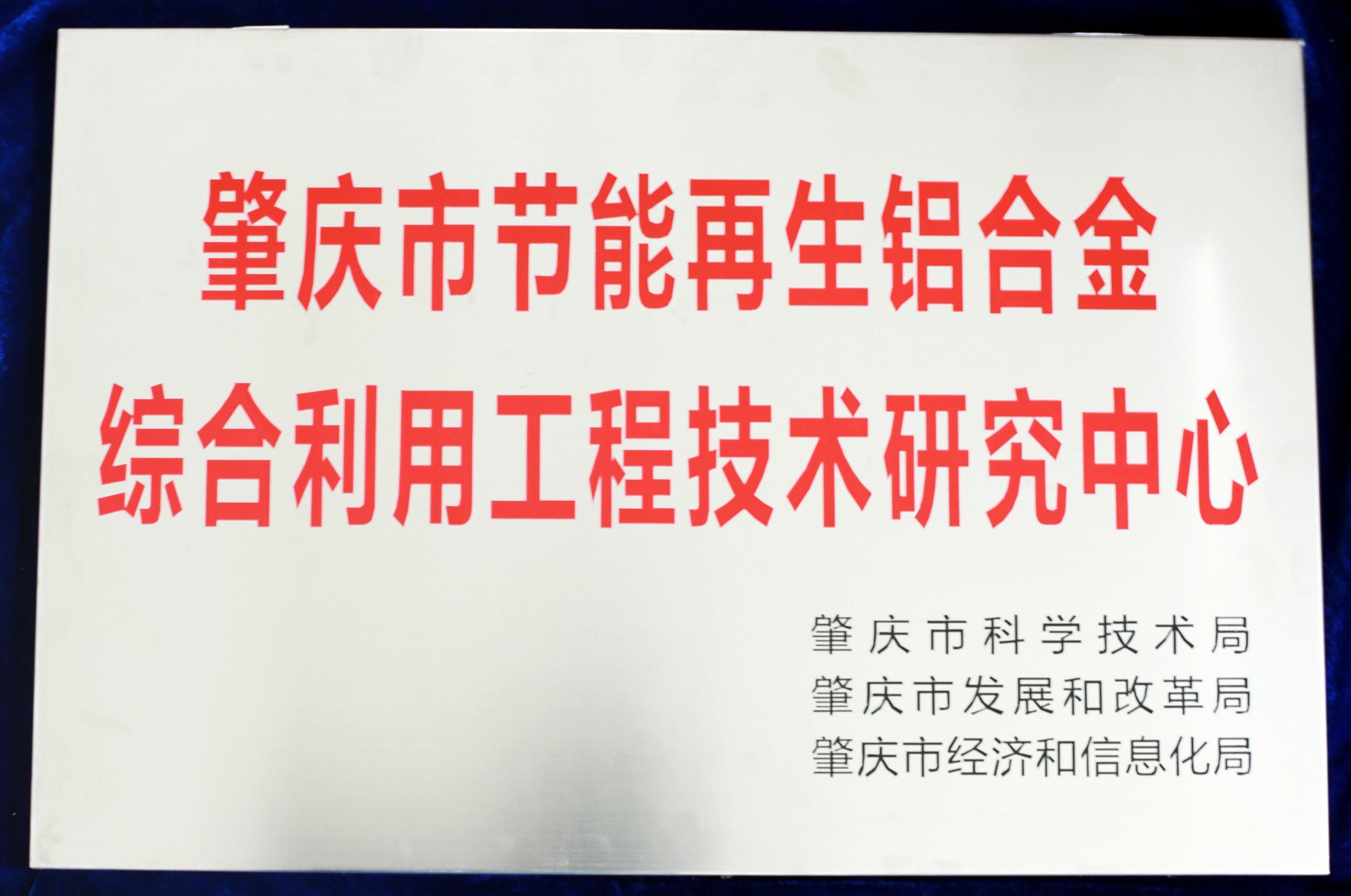 肇庆市节能再生铝合金综合利用工程技术研究中心