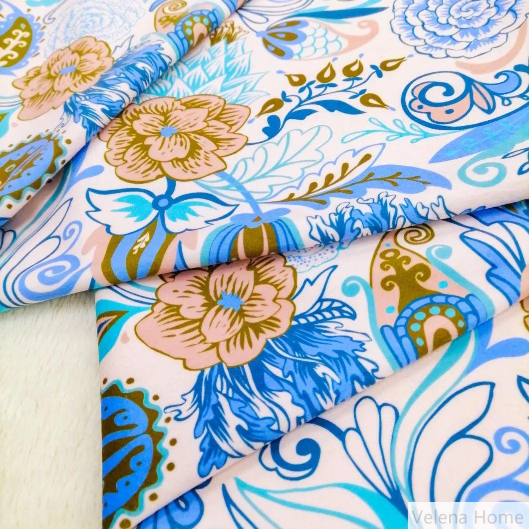 Super Soft Polyester Velvet Print Upholstery Furniture Knitting Fabrics