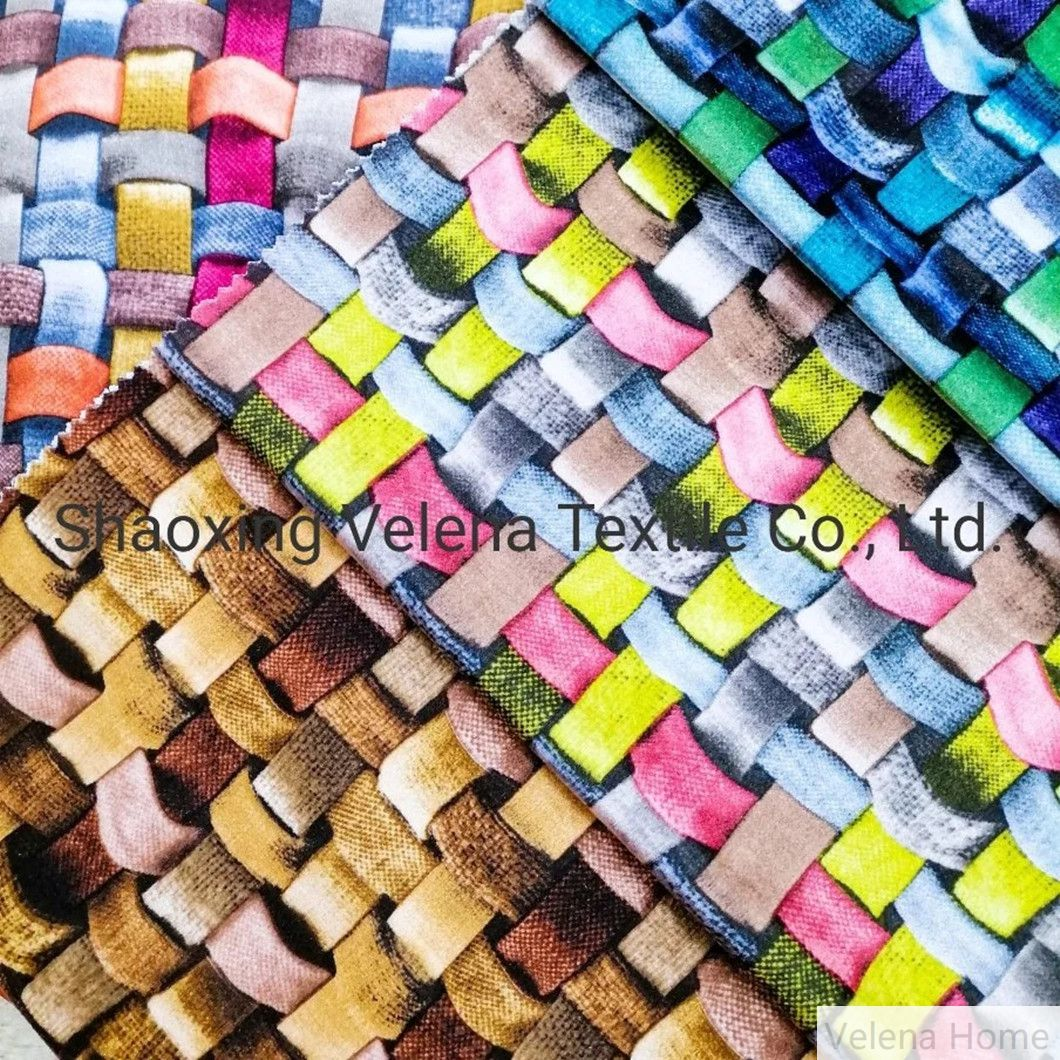 FDY Holland Velvet Digital Printing Knitting Upholstery Furniture Sofa Fabric for Home Textile