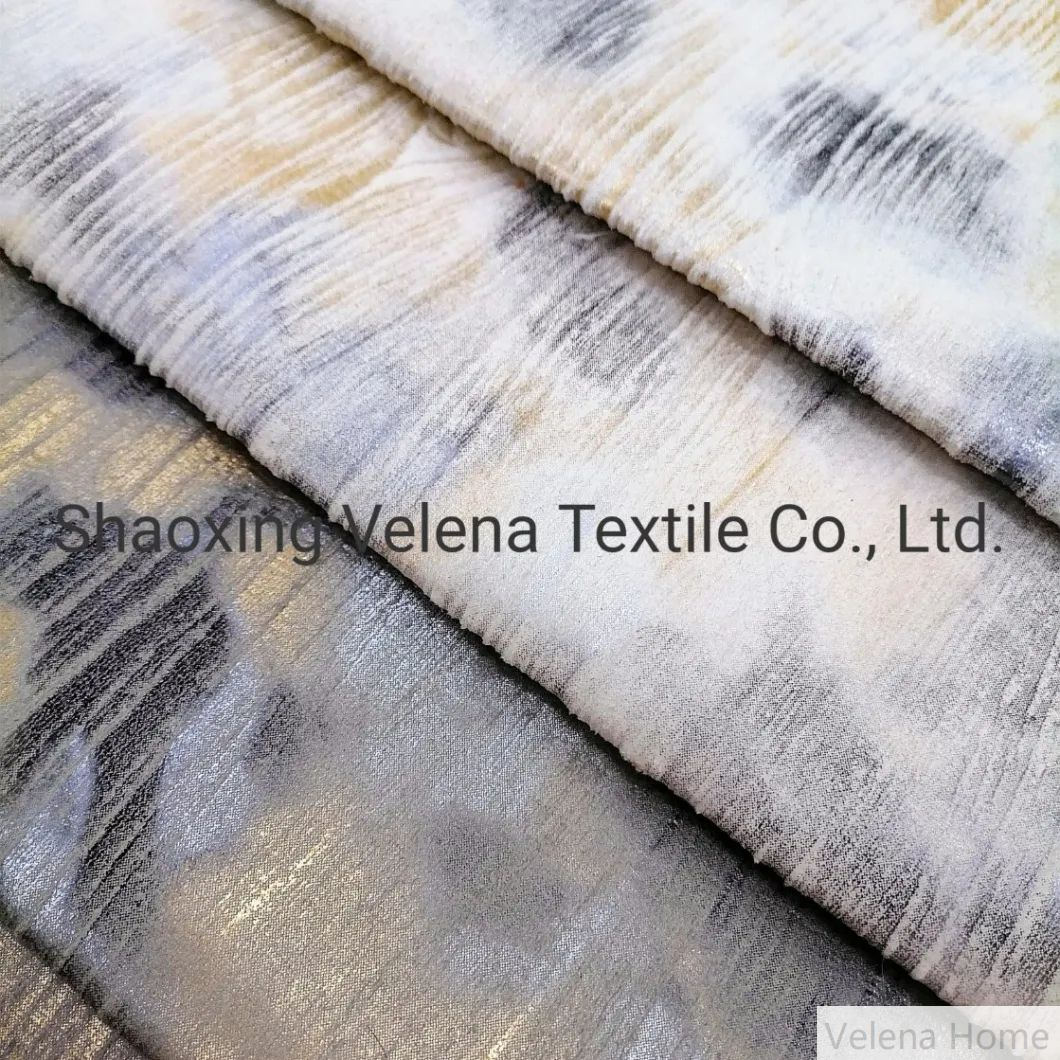 Two Color Glue Emboss and Foil Furniture Upholstery Sofa Fabric Velvet Fabrics