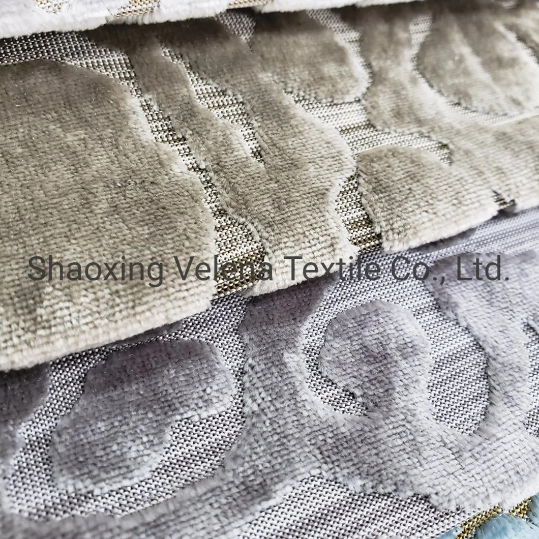 New Design Polyester Velvet Jacquard Two Tone Color Luxury Upholstery Fabric for Sofa Pillow