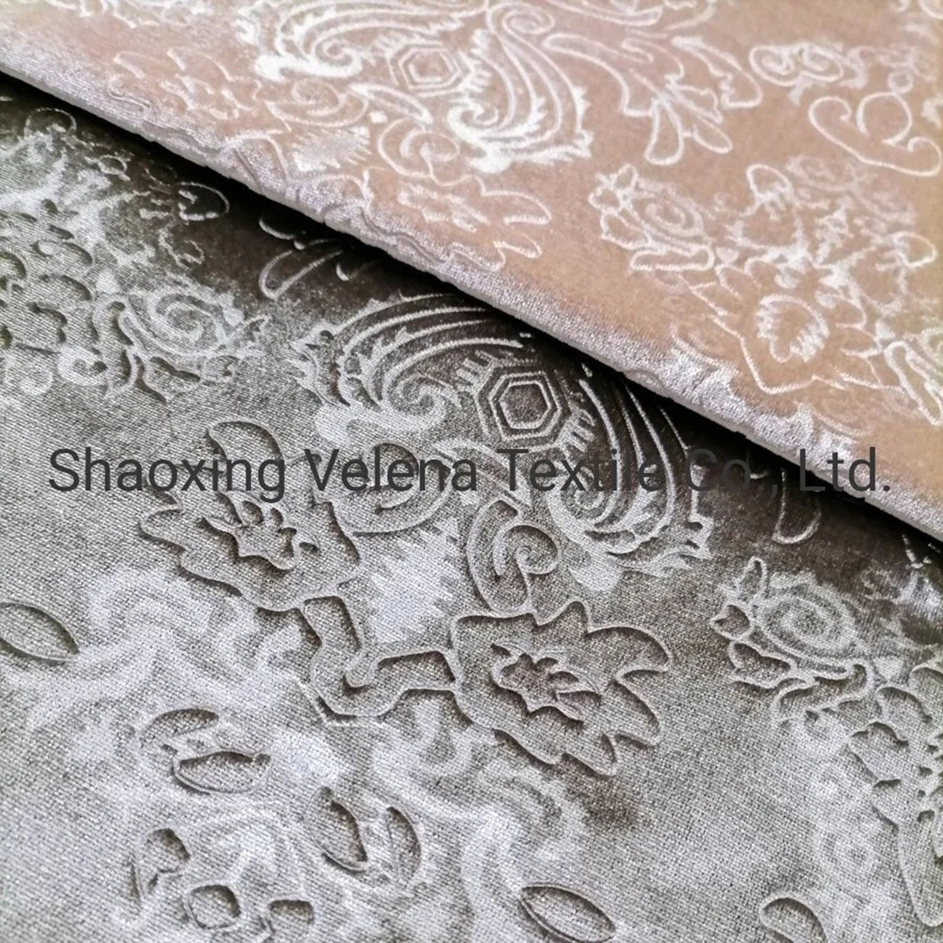 Italy Velvet Dyeing with 3D Emboss Upholstery Furniture Curtain Sofa Fabric