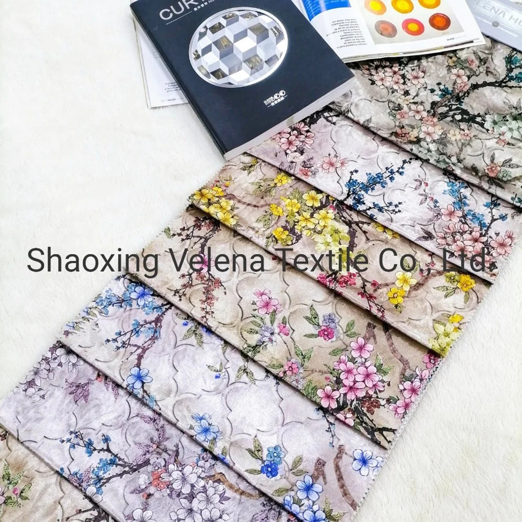 Printed Velvet Suede Fabric Upholstery Furniture Fabric Home Textile for Sofa