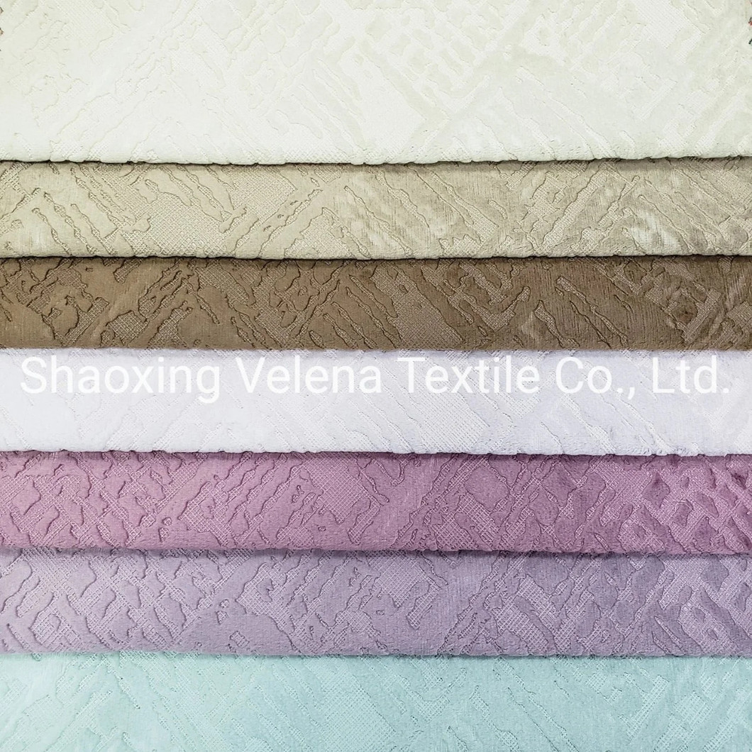 Holland Velvet with Electric Embossed Textile Fabrics for Sofa and Curtain