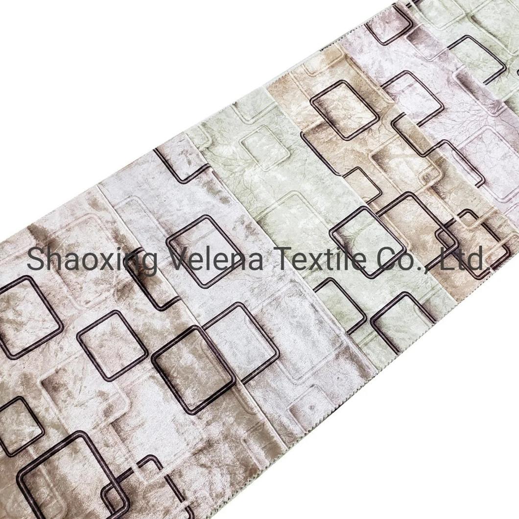 Geometric Printed Velvet Upholstery Fabric for Sofa