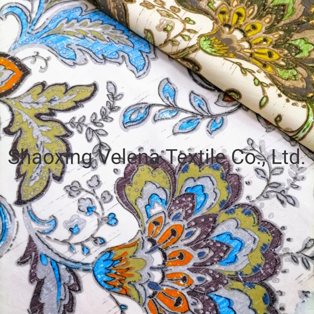 Fashion Holland Velvet Printed with Emboss Upholstery Sofa Textile Fabric