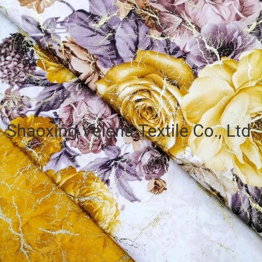 New Arrival Holland Velvet Printing with Shiny Foil  Sofa Fabric