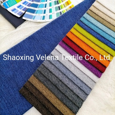 100% Polyester Twill Linen Upholstery Fabric for Curtain Sofa Cushion