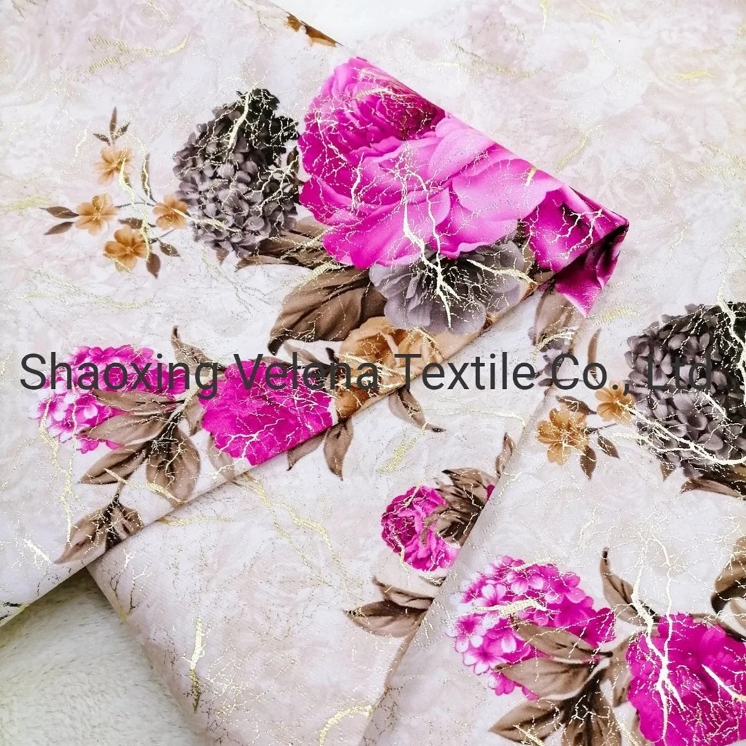 Holland Velvet Printing with Shiny Foil Upholstery Furniture Sofa Fabric