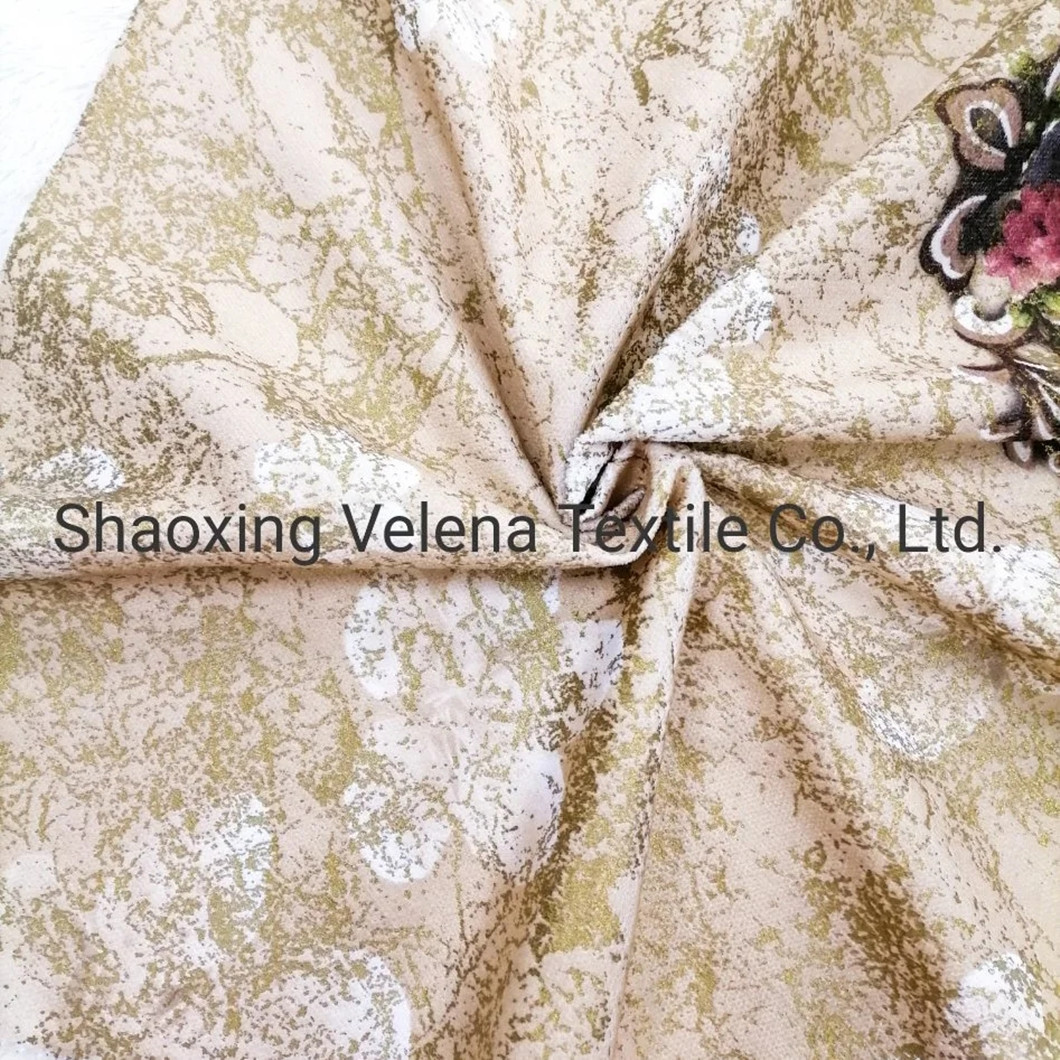 Factory Supply Polyester Fudan Venisia FDY Velvet Print with Foil Upholstery Sofa Fabric