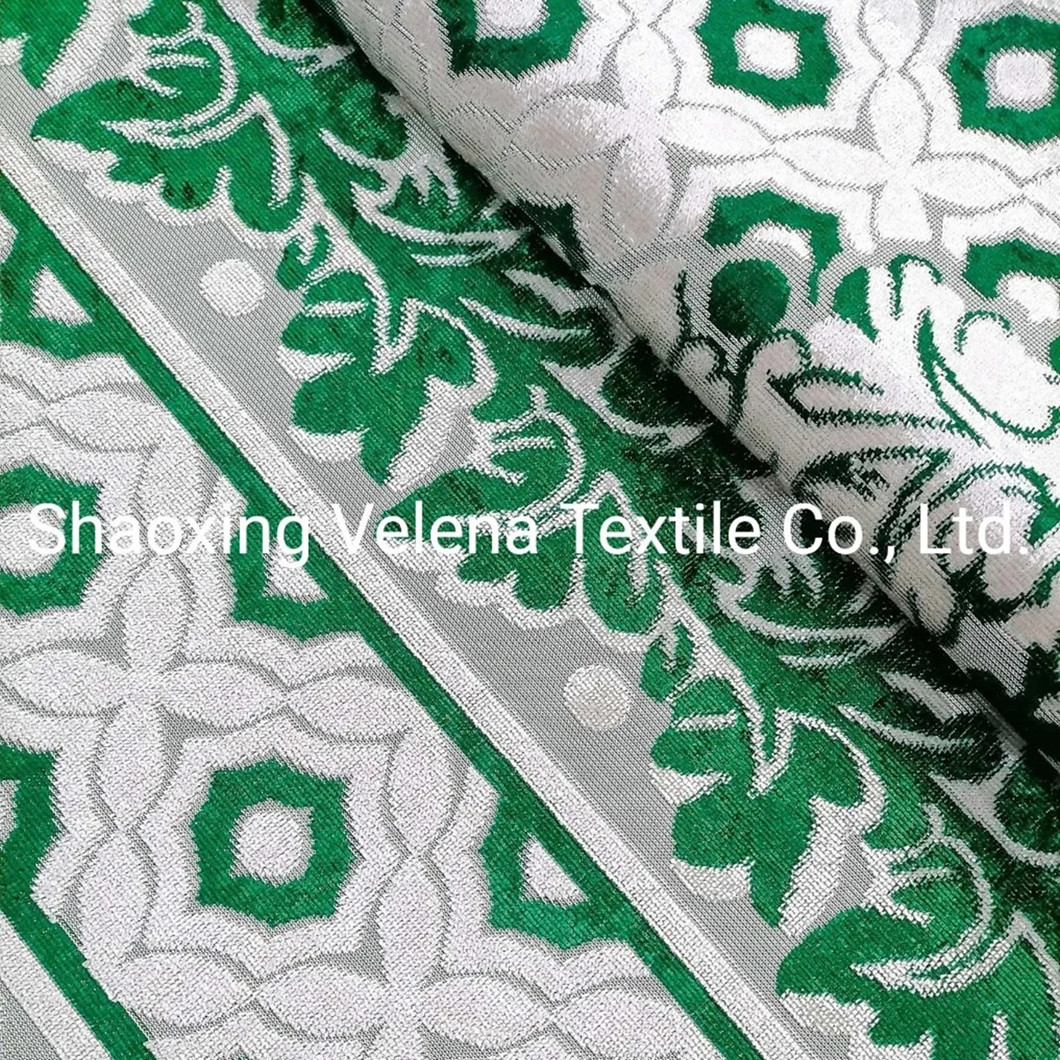 Polyester Velvet Jacquard Warp Knitting Fabric Home Textile Fabric for Sofa