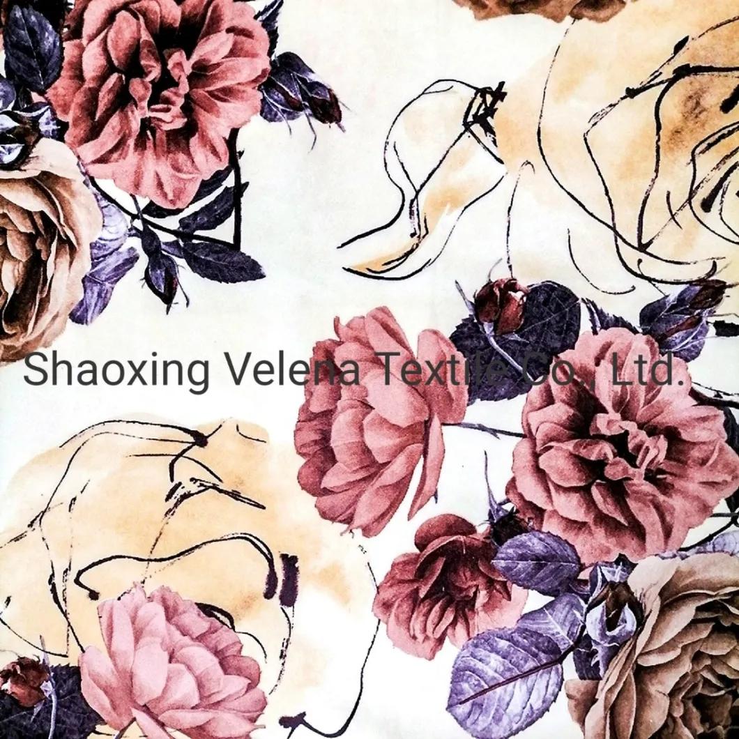 Polyester Vinisia Fudan Velvet Floral Print Sofa Upholstery Fabric