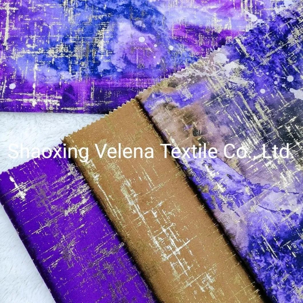 Colourful Printing Polyester Velvet Upholstery Furniture Fabric for Sofa