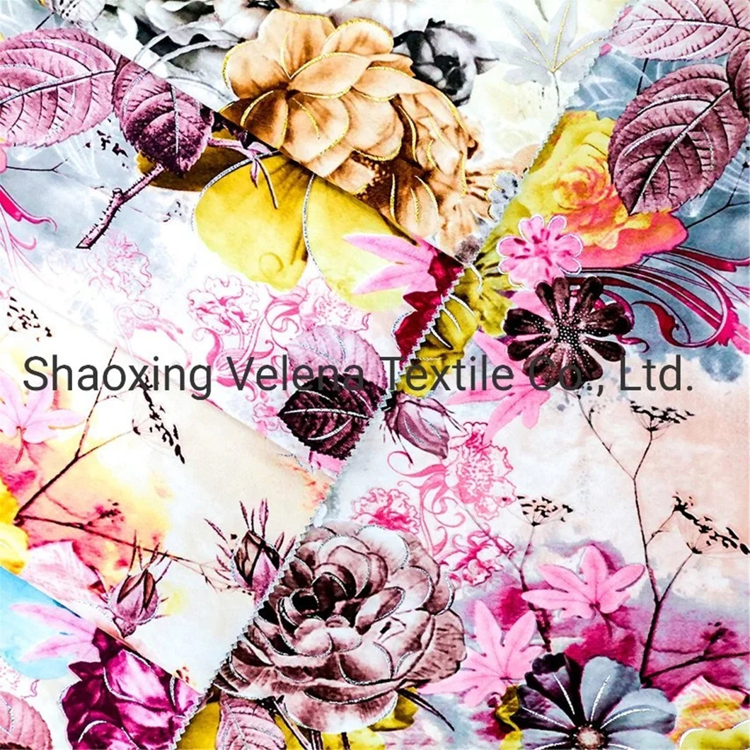 100%Polyester Fudan Vinice FDY Velvet Printed Home Textile Furniture Fabric