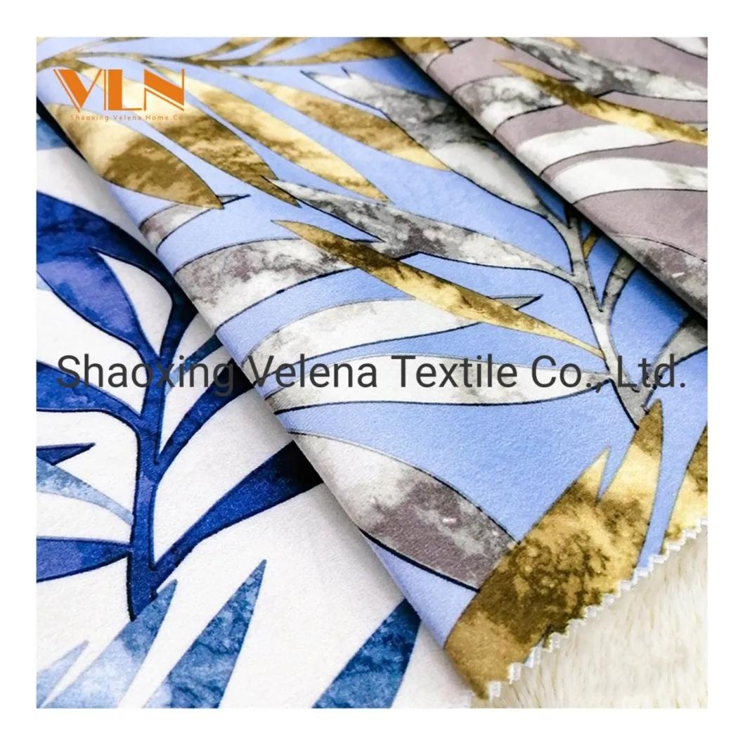100% Polyester Tree Leaves Printing Velvet Upholstery Textile Fabric