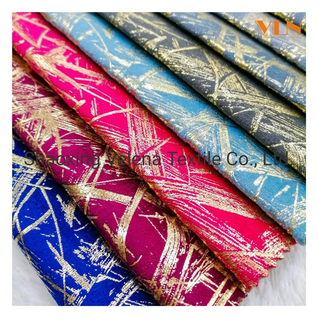 Holland Velvet Original Dyeing with Shiny Foil Furniture Textile Fabric