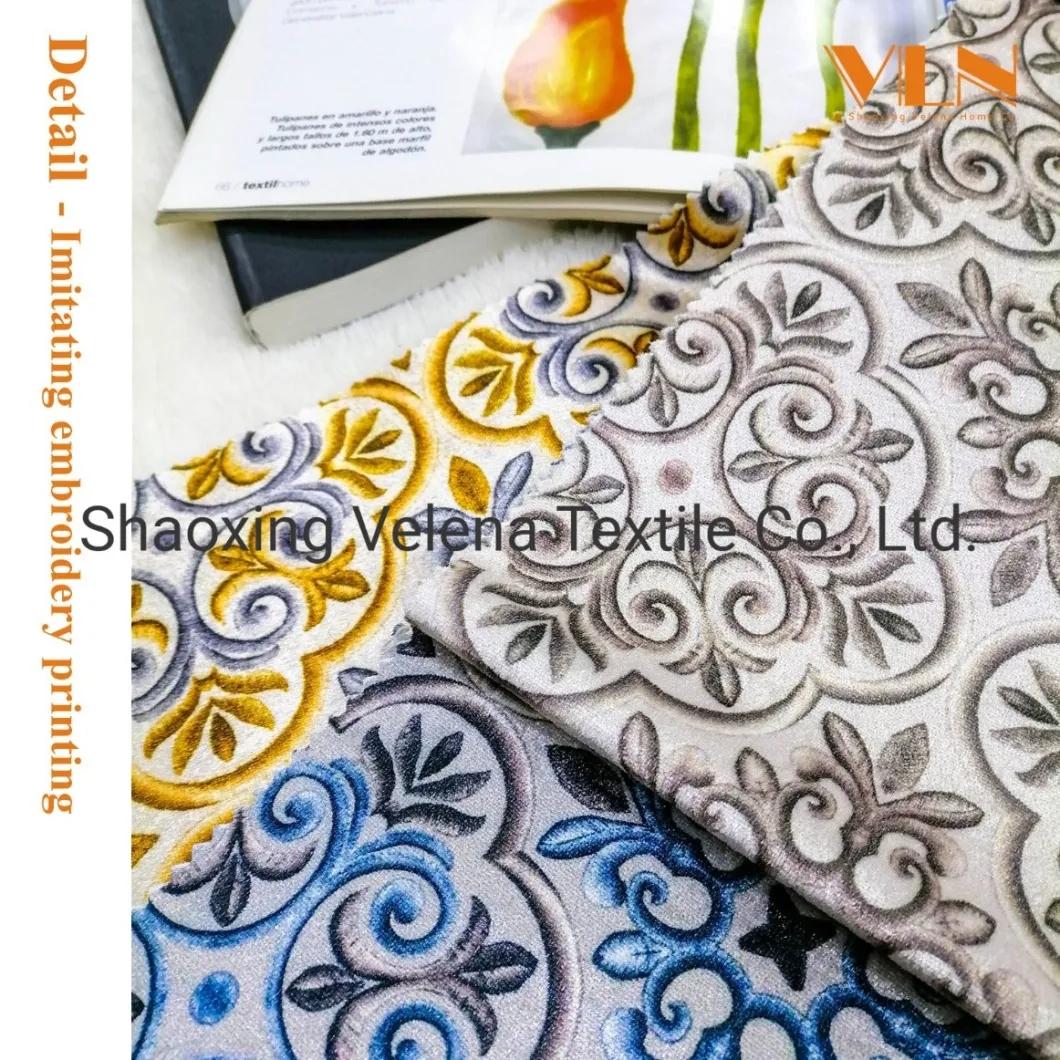100% Polyester FDY Fudan Velvet Printing Upholstery Fabric for Sofa