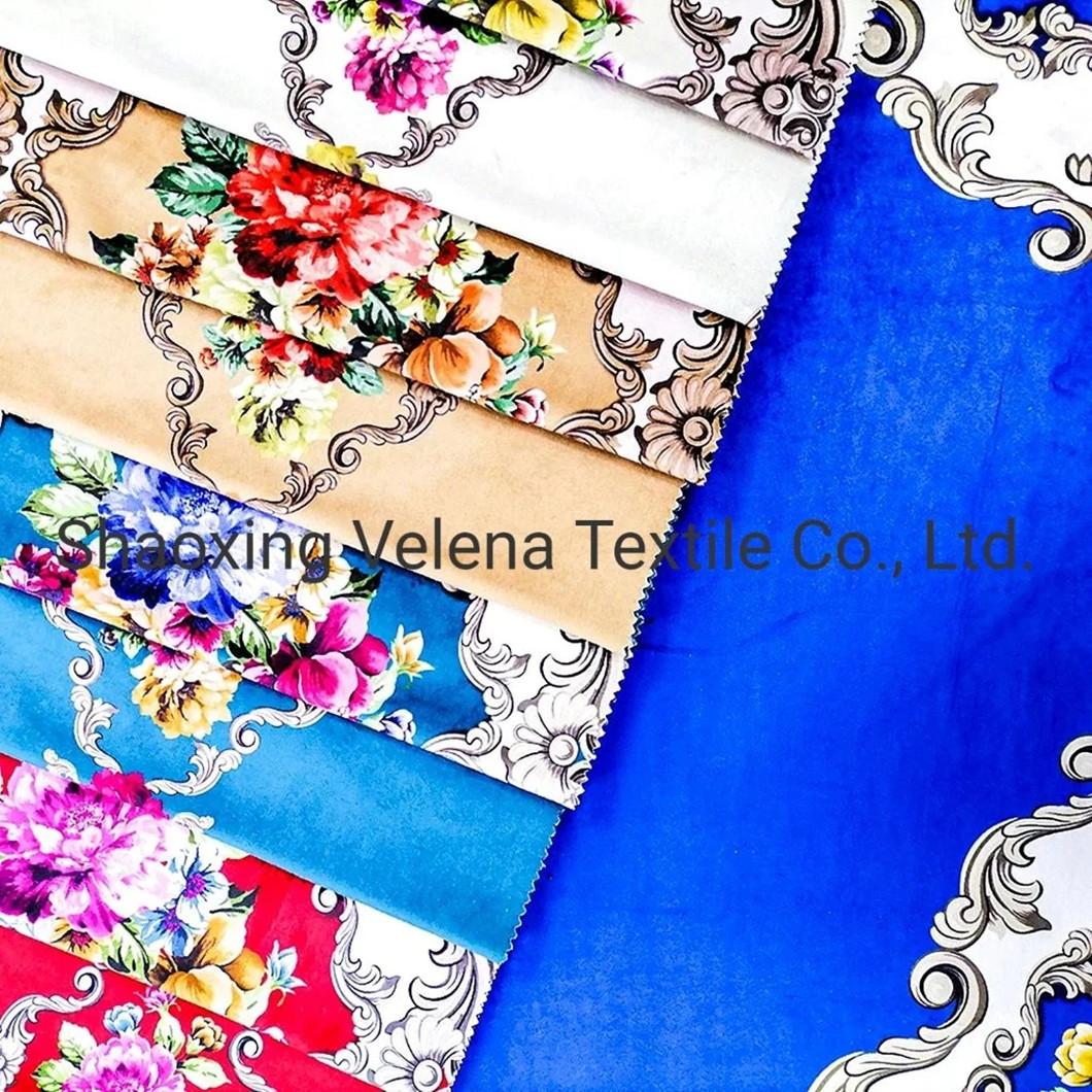 100% Polyester Vinisia Velvet Printing Textile Upholstery Sofa Fabric
