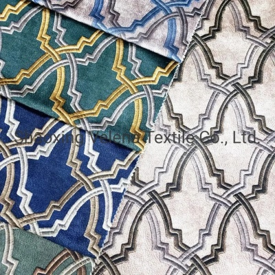 Polyester Velvet with Embroidery Looking Printed Furniture Fabric Home Textile Fabric