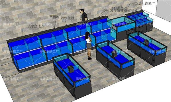 孝感大型连锁超市可移动海鲜鱼池 设计原稿 专业定制