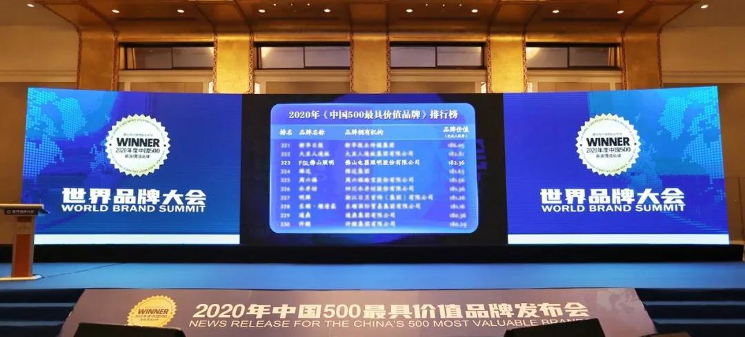182.36亿元!佛山照明连续蝉联《中国500***价值品牌》榜单