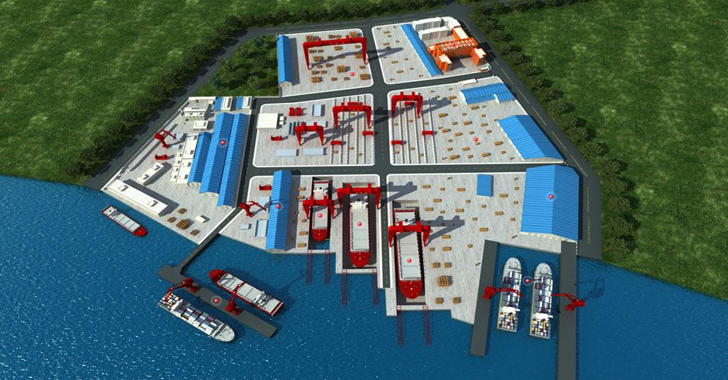口岸船厂200t×72m 双小车船用门吊1台