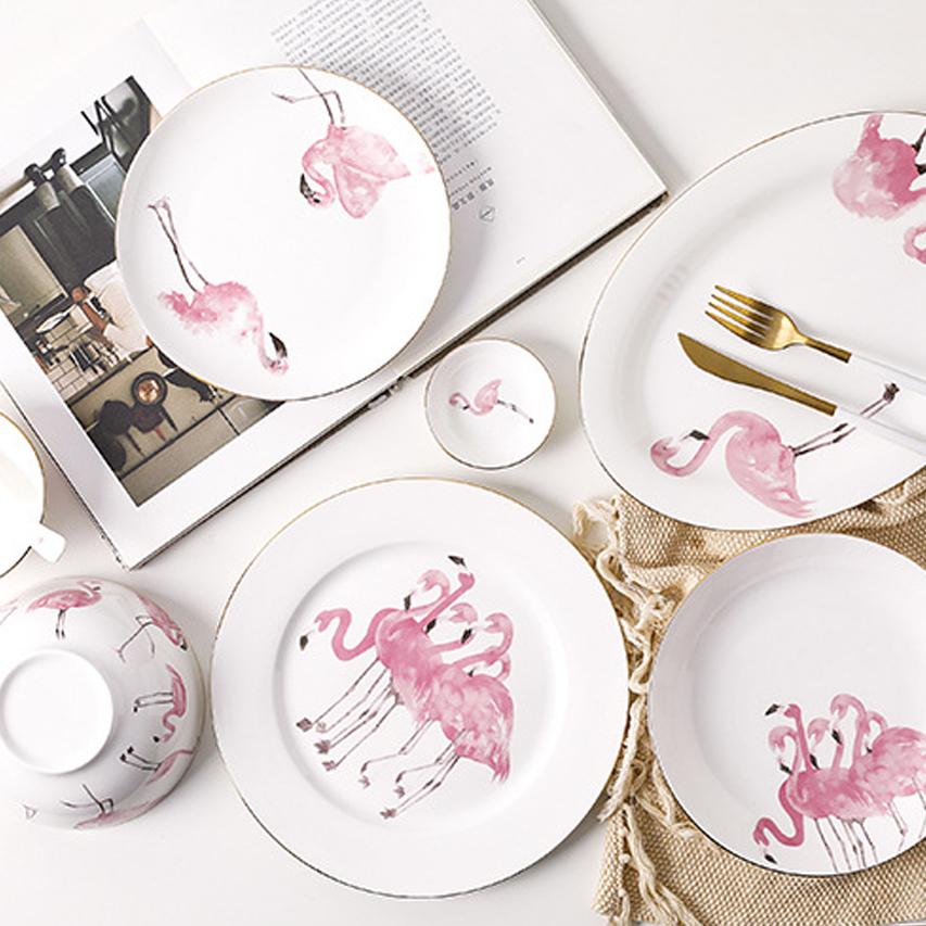 粉色仙鹤系列-礼品瓷